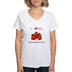 I Love Strawberries Women's V-Neck T-Shirt