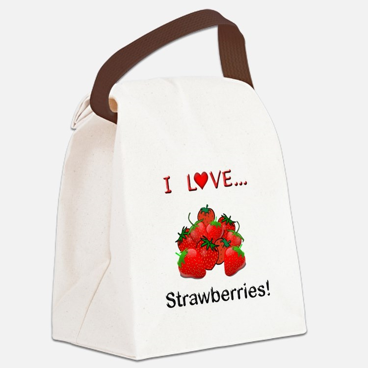 I Love Strawberries Canvas Lunch Bag