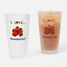 I Love Strawberries Drinking Glass