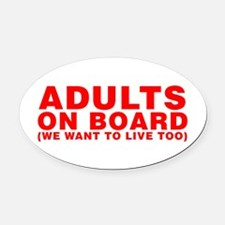 Adults On Board Oval Car Magnet