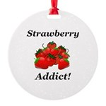 Strawberry Addict Round Ornament