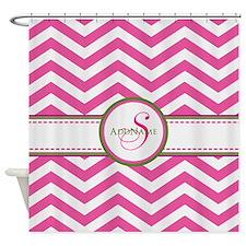 Pink Monogram Chevron Stripe Shower Curtain
