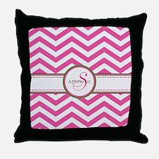 Pink Monogram Chevron Stripe Throw Pillow