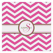 Pink Monogram Chevron Stripe Invitations