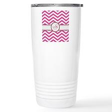 Pink Monogram Chevron Stripe Travel Mug