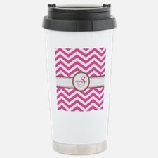Pink Monogram Chevron Stripe Travel Mug
