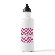 Pink Monogram Chevron Stripe Water Bottle
