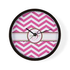 Pink Monogram Chevron Stripe Wall Clock