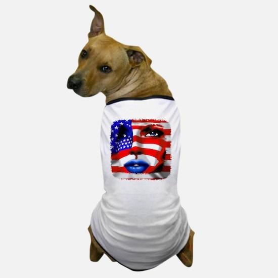 USA Stars and Stripes Woman Portrait Dog T-Shirt