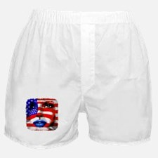 USA Stars and Stripes Woman Portrait Boxer Shorts