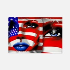 USA Stars and Stripes Woman Portrait Magnets