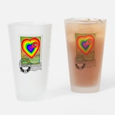Kiss of Rainbow Love Stamp Drinking Glass