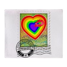 Kiss of Rainbow Love Stamp Throw Blanket