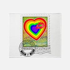 Kiss of Rainbow Love Stamp Throw Blanket