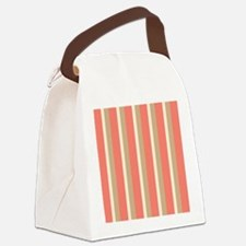 Lovely Coral and Tan Stripe Canvas Lunch Bag