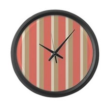 Lovely Coral and Tan Stripe Large Wall Clock