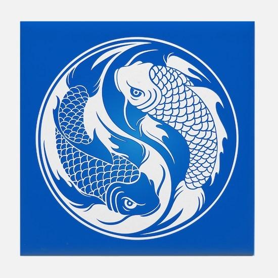 Blue Yin Yang Koi Fish Tile Coaster