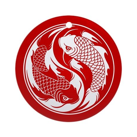 Red and White Yin Yang Koi Fish Ornament (Round)