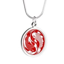 Red and White Yin Yang Koi Fish Necklaces