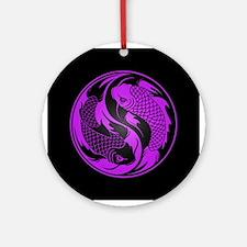 Purple and Black Yin Yang Koi Fish Ornament (Round