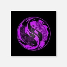 Purple and Black Yin Yang Koi Fish Sticker