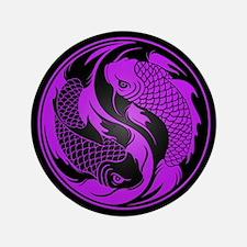 "Purple and Black Yin Yang Koi Fish 3.5"" Button"