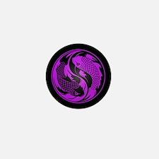 Purple and Black Yin Yang Koi Fish Mini Button