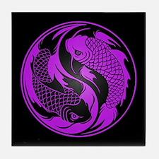 Purple and Black Yin Yang Koi Fish Tile Coaster