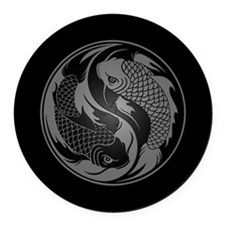 Gray and Black Yin Yang Koi Fish Round Car Magnet