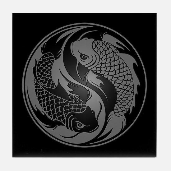 Gray and Black Yin Yang Koi Fish Tile Coaster
