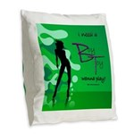 Green Lady Burlap Throw Pillow