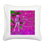 Green Lady Square Canvas Pillow