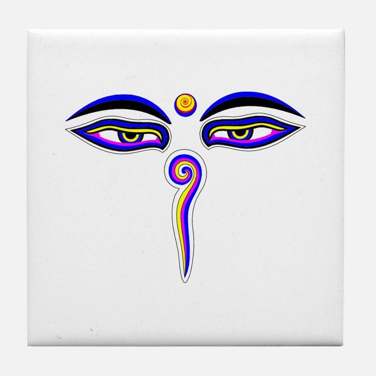 Peace Eyes (Buddha Wisdom Eyes) Tile Coaster