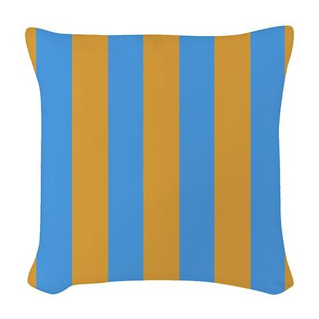 Woven Blue Throw Pillow : Mustard and Light Blue Stripe Woven Throw Pillow by stripstrapstripes