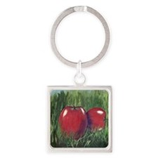 Two Apples Square Keychain