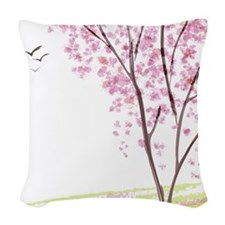 Tree in Spring Woven Throw Pillow