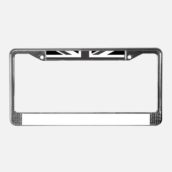 Union Jack - Black and White License Plate Frame