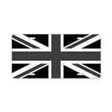 Black and white union jack License Plates