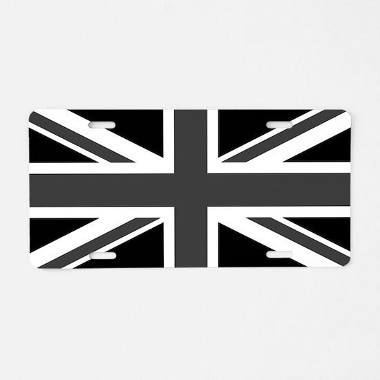 Union Jack - Black and White Aluminum License Plat
