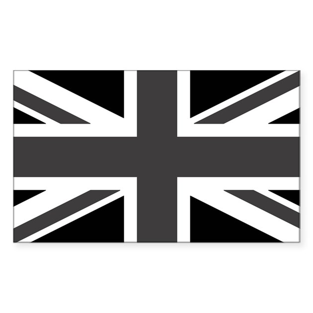 Union jack black and white decal by world flags