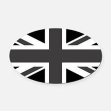 Union Jack - Black and White Oval Car Magnet
