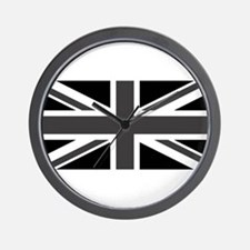 Union Jack - Black and White Wall Clock