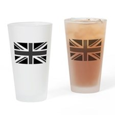 Union Jack - Black and White Drinking Glass