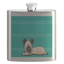 Resting Skye Terrier  Flask