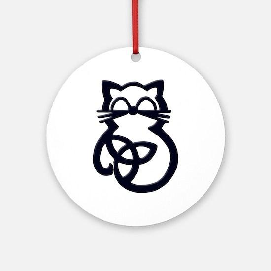 Black Trinity Knot Celtic Cat Round Ornament