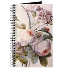 Vintage pink rose  flowers botanical illus Journal