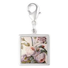 Vintage pink rose  flowers bo Silver Square Charm