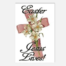 Pink Flower Cross Ribbon, Postcards (Package of 8)