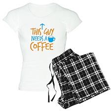 This guy needs a coffee! with arrow up pajamas