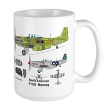 P-51 Mustang Flown By Lt. Louis Curdes Large Mugs